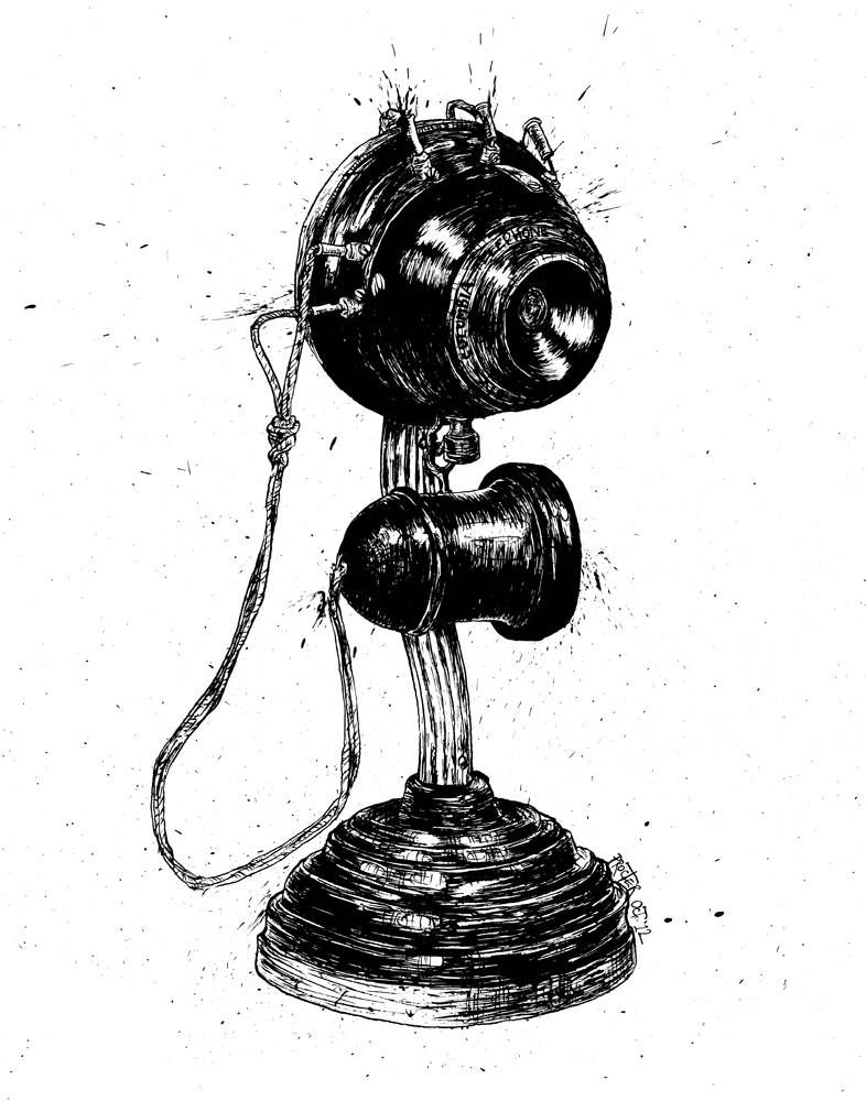 Upright candlestick telephone from 1894 Colombia Telephone Manufacturing company drawing