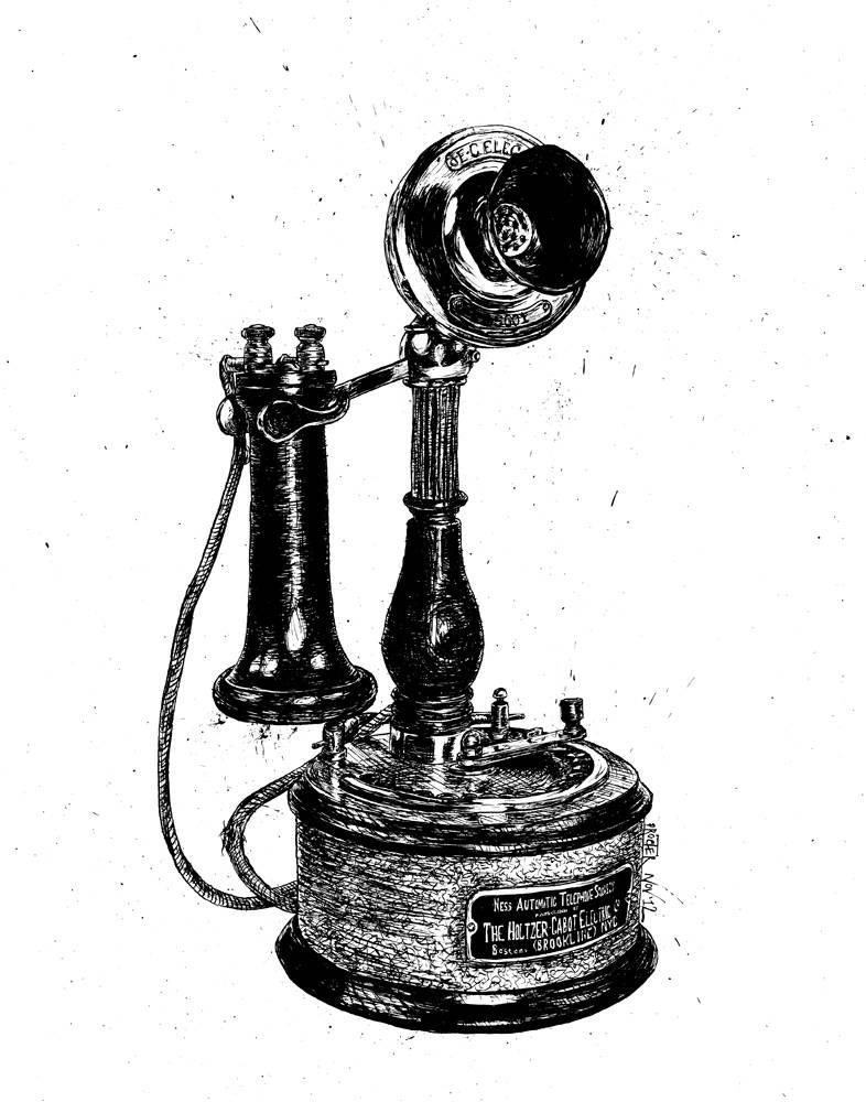 Candlestick style phone from 1899 Holtzer Cabot Telephone Co