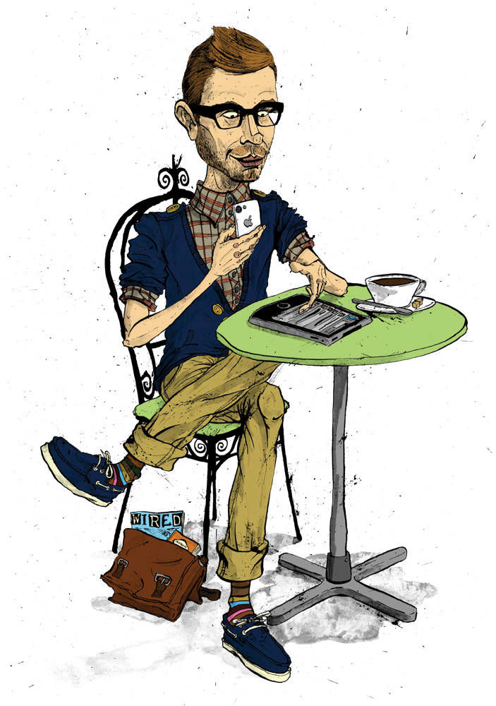 Caricature of a hipster digital media specialist