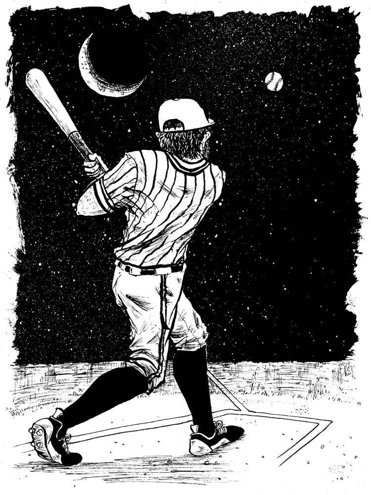 Baseball player batting the ball into space