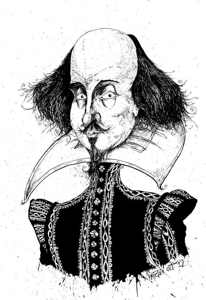 William Shakespeare caricature Bill the Bard
