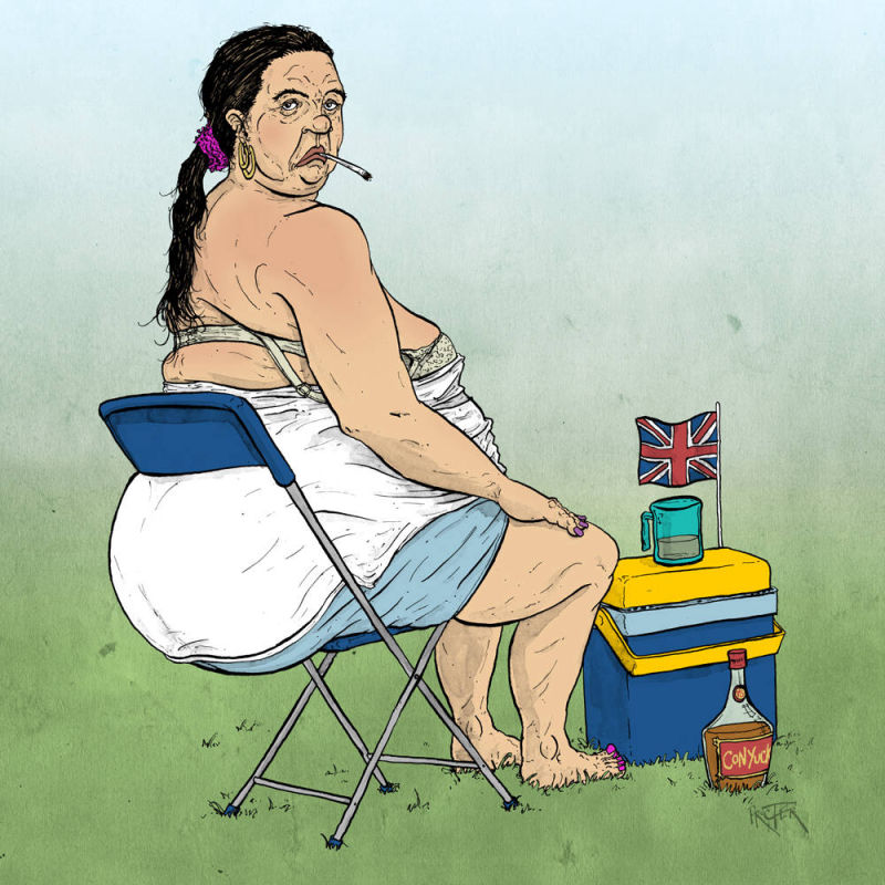 Caricature of a larger British woman smoking and drinking