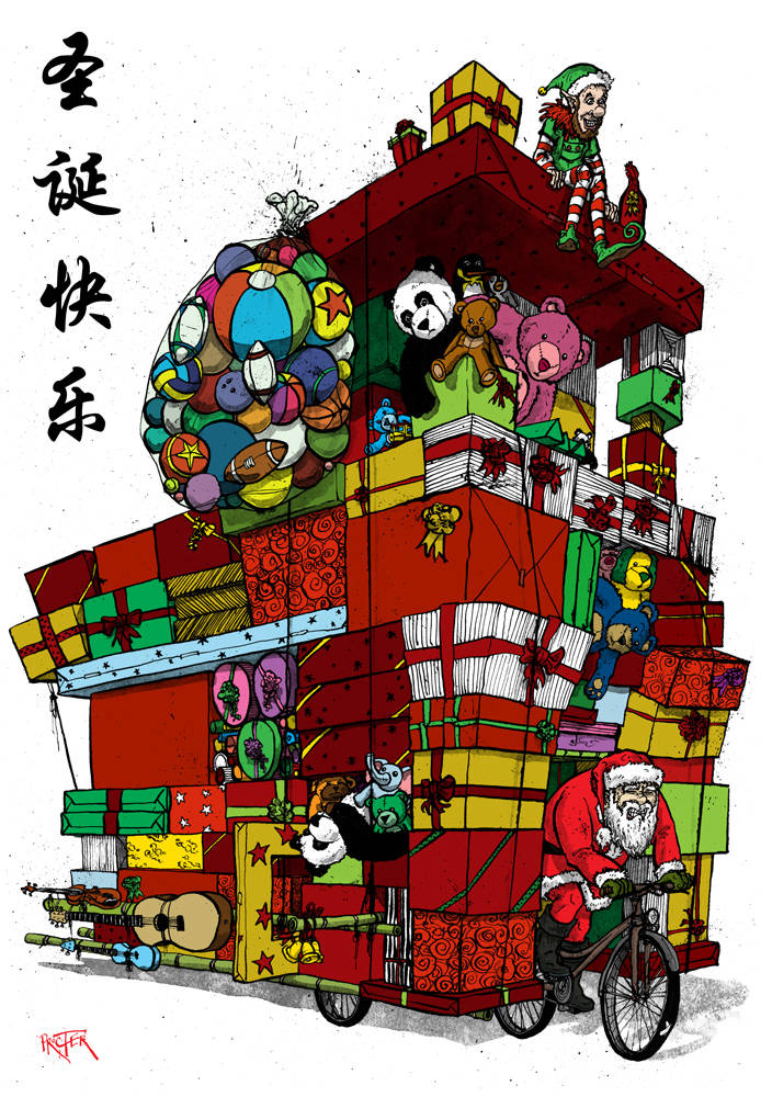 Santa riding a Chinese trike cart stacked with presents