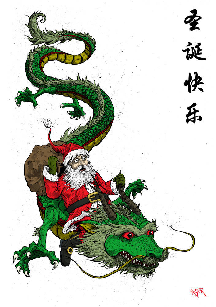Santa riding a dragon