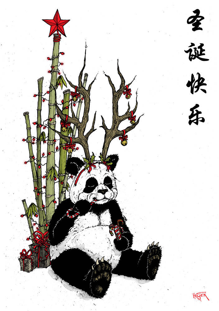 A panda eating candy canes with a bamboo Christmas tree