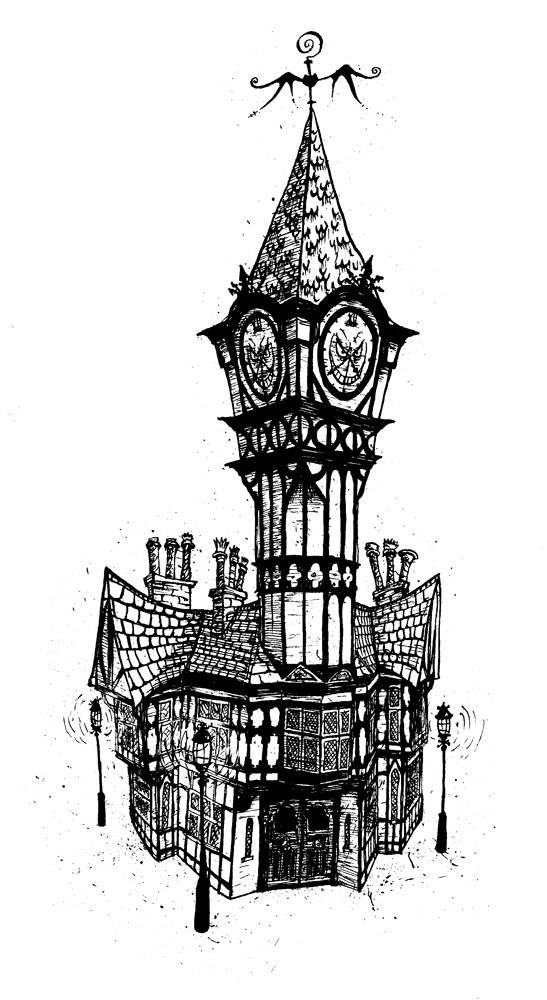 Mock tudor clocktower based on Southsea Portsmouth