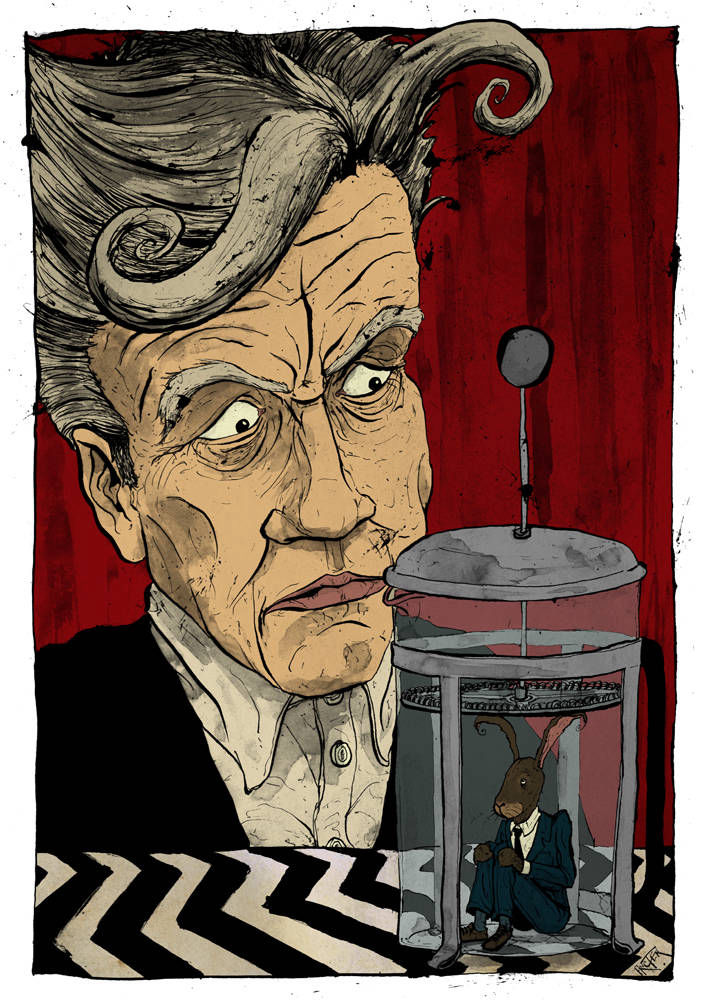 David Lynch caricature with a rabbit in a coffee cafetiere