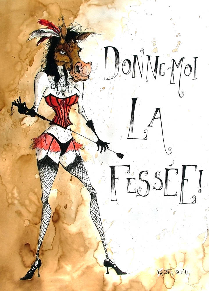 French Burlesque dancer a la Moulin Rouge with horses head