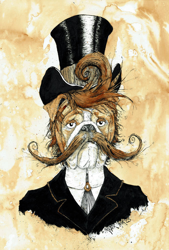 English Bulldog dressed in Victorian style with a top hat and handlebar mustache