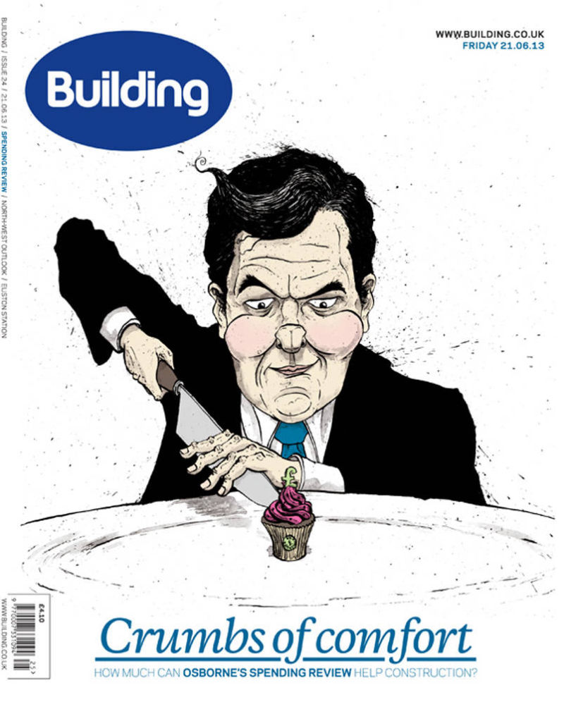 Caricature of George Osborne cutting a tiny cupcake