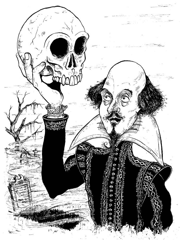 William Shakespeare holding a skull as seen in Hamlet