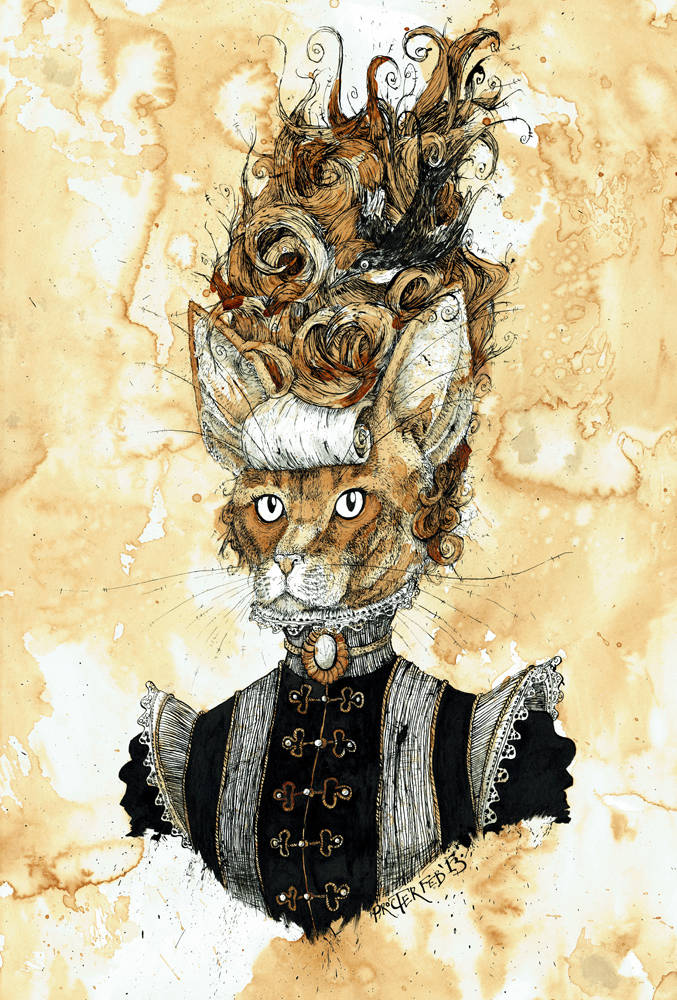 Victorian Abyssinian Cat with a curly beehive hair