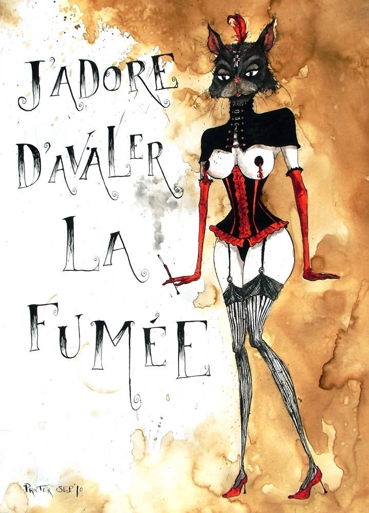 French Burlesque dancer a la Moulin Rouge with cats head