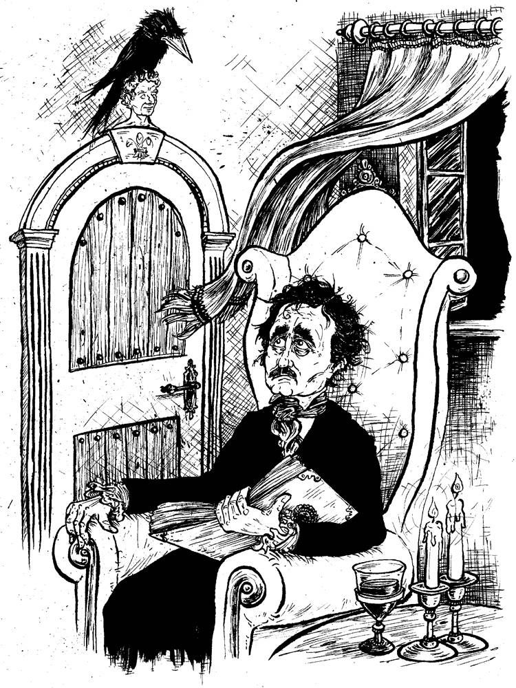 Edgar Allen Poe sat with the raven