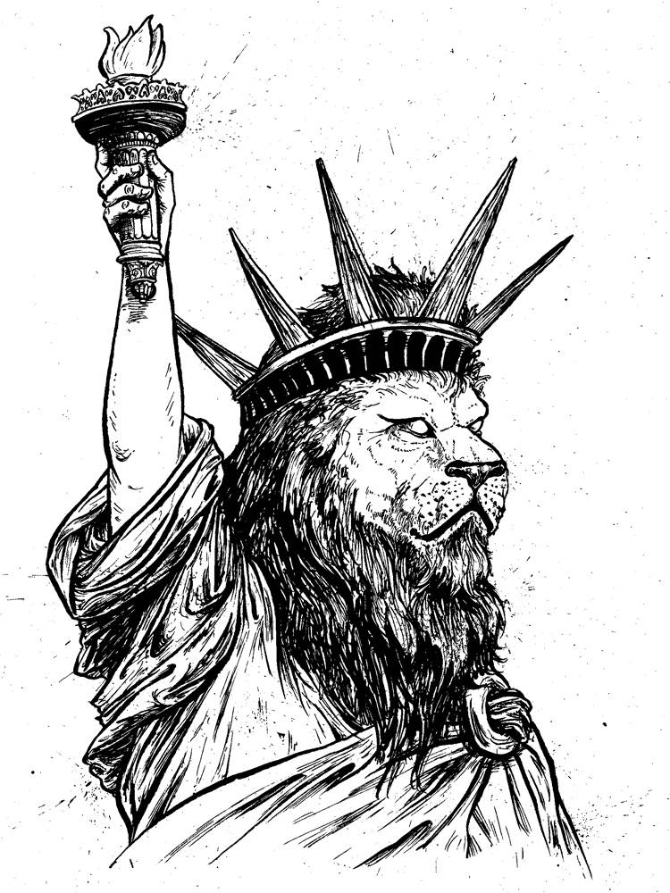 The statue of liberty with a lions head