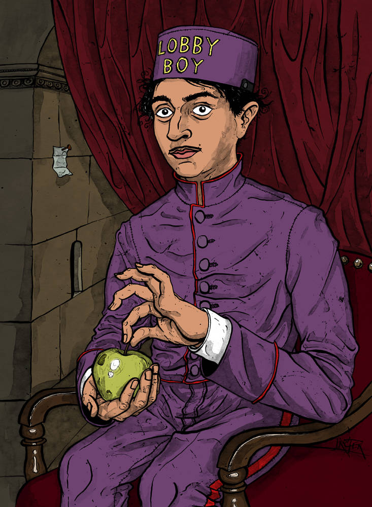 Lobby Boy with Apple parody from the Grand Budapest Hotel
