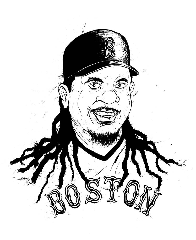 Manny Ramirez caricature Boston Red Sox