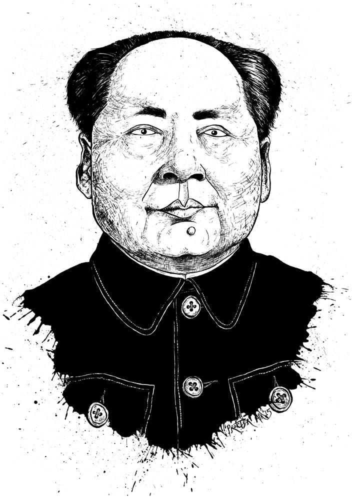 Caricature of Chairman Mao Tse Tsung Zedong