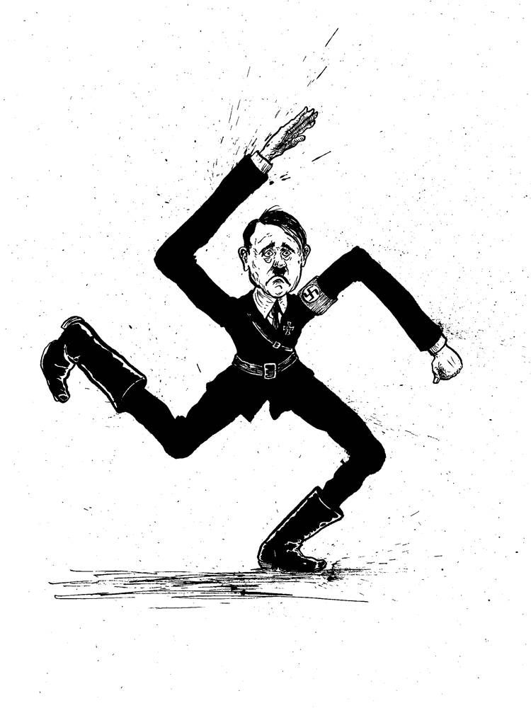 cartoon of Adolf Hitler as a swastika