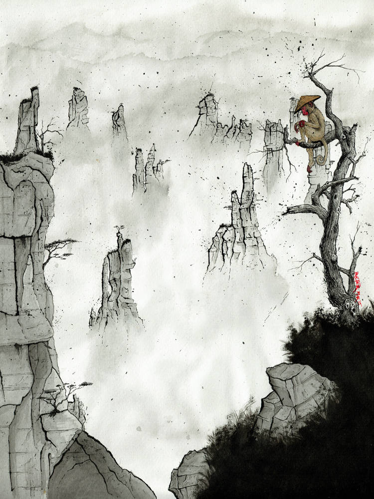 Chinese Macaque Monkey wearing a conical hat in the mountains of Zhangjiajie ink painting