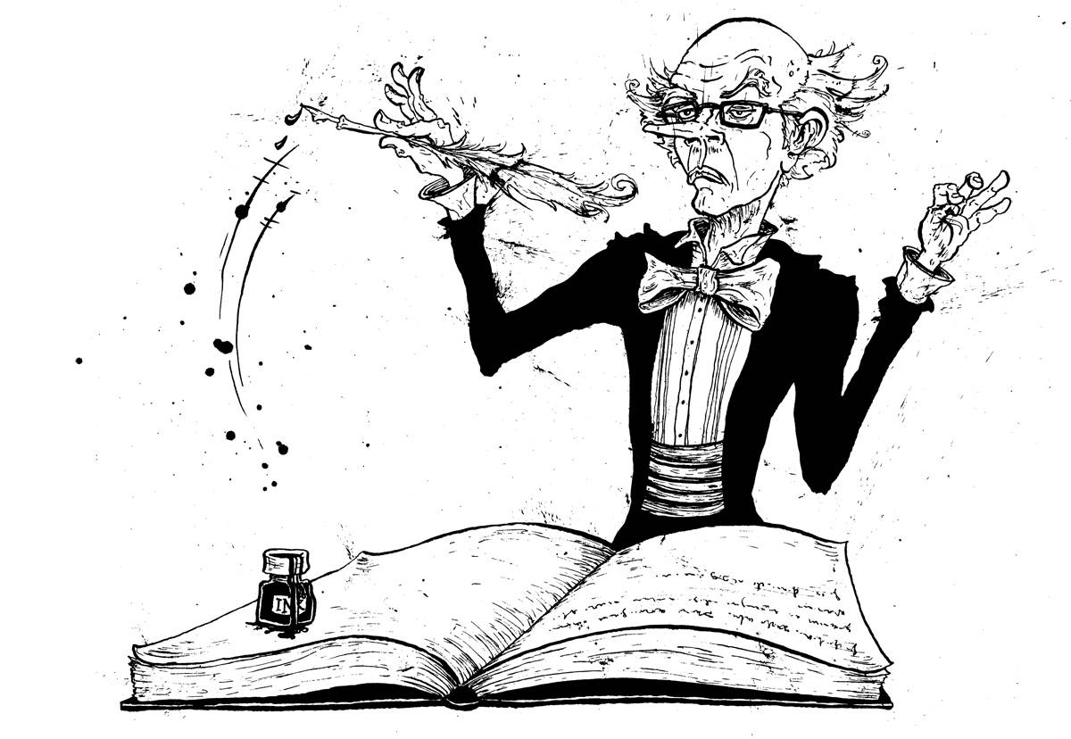 Maestro author using his pen and ink as a baton