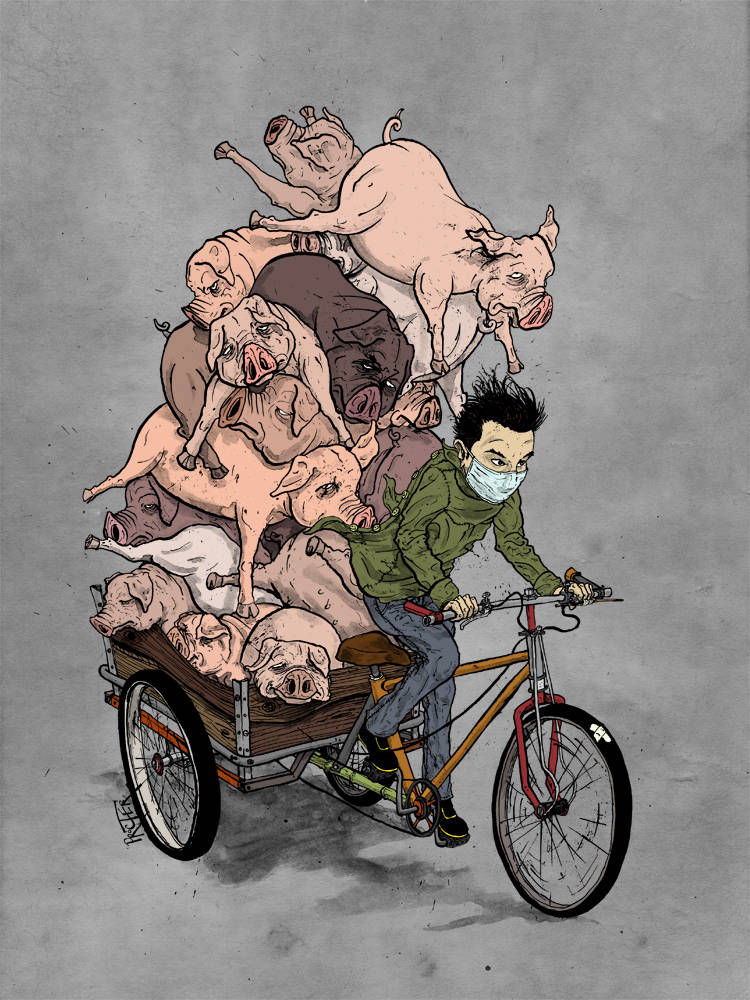 A trike cart piled high with dead pigs as seen in China