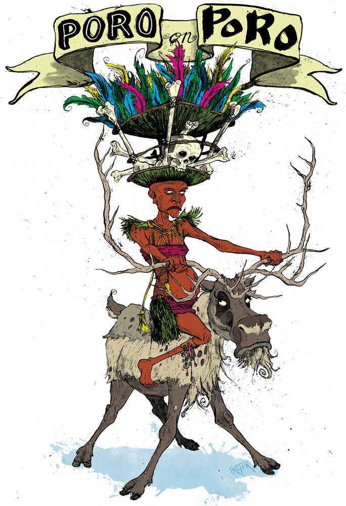 A member of the Poro tribe from Sierra Leone riding a poro, the Finnish word for reindeer