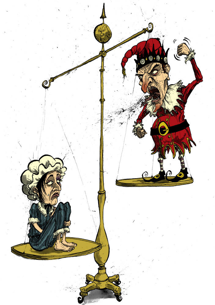 Illustration showing imbalance in domestic violence with Punch and Judy