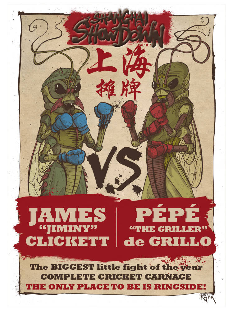 Poster for a cricket fight in Shanghai, China