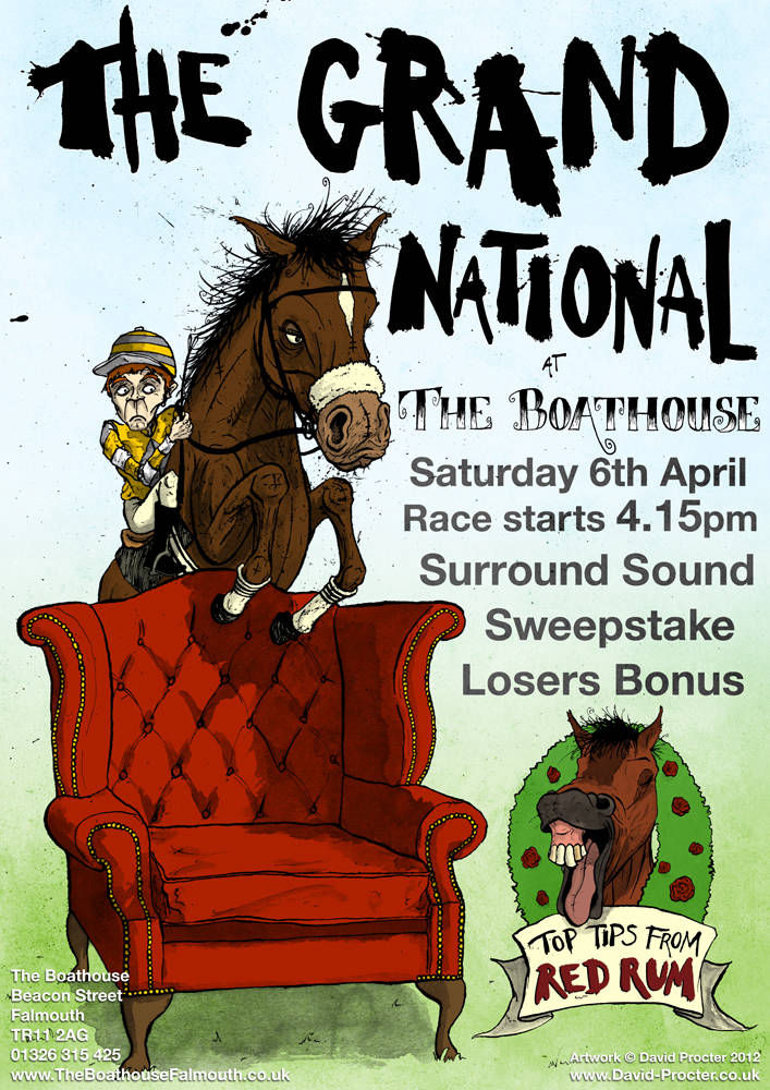 A horse jumping the chair in a poster for the grand national