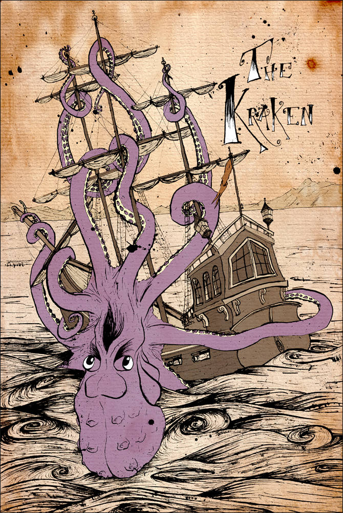 Giant octopus the kraken from a series of sea legends