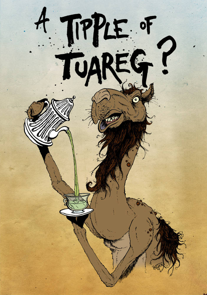 Camel pouring out a cup of tuareg mint tea