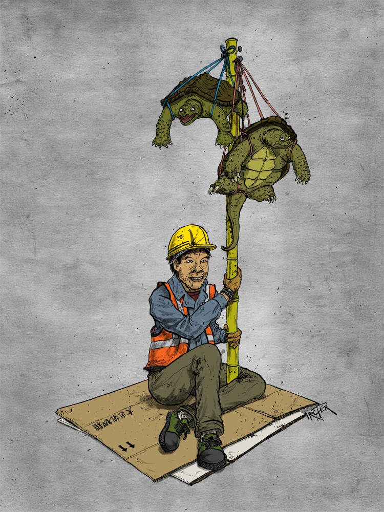 A migrant construction worker in China holding snapping turtles for sale on a stick