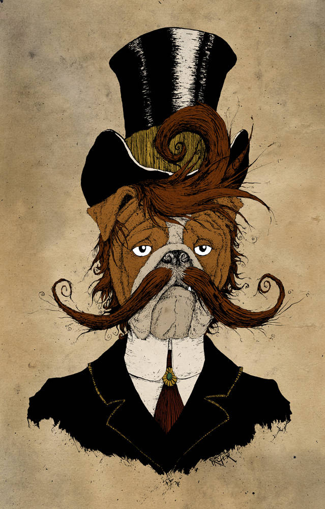 English Bulldog dressed in Victorian style with curly handlebar mustache and top hat