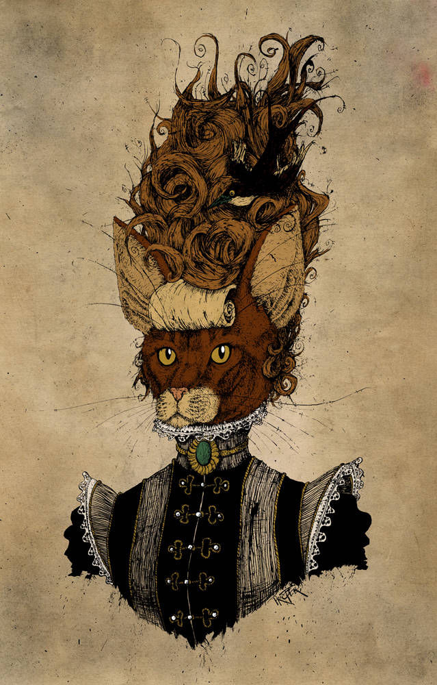 Cat dressed in eleganct victorian dress with beehive hair and a bird