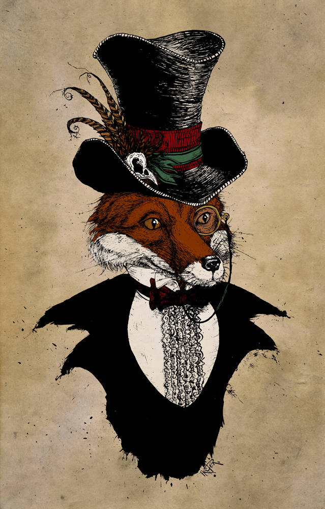 Dandy Fox dressed in victorian garb with pluck in his top hat